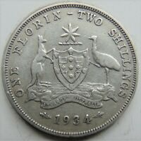 1934 AUSTRALIA George V, silver  Florin, Grading FINE. Up to 3 available.