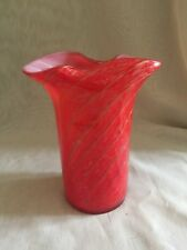 VINTAGE  MURANO FRATELLI TOSO CYLINDRICAL VASE WITH ORIGINAL LABEL