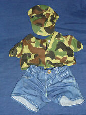 Build A Bear Clothes Camouflage Military Shirt & Hat & Jeans