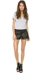NWT $365 Rag & Bone Lambskin Leather Pajama Short in Black sz M