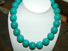 LARGE GENUINE BLUE  TURQUOISE POLISHED ROUND BEAD NECKLACE 18mm, 18in.