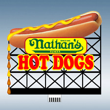 HO-SCALE NATHAN'S HOT DOGS ANIMATED NEON BILLBOARD SIGN BY MILLER ENG.-SUPER BUY