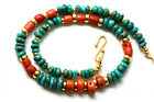 Antique Coral Necklace, Antique Persian Turqouise, 22kt Gold, 925 Silver Beads.