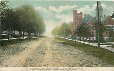 Neillsville Wisconsin~County Jail on Fifth Street~Rutted Dirt Road~1909 Postcard