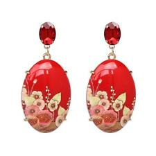 CG3477...RED FLORAL DESIGN RESIN EARRINGS - FREE UK P&P