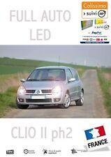 CLIO 2 Kit 11 Ampoules LED Veilleuses + plaque + Habitacle Pur Blanc OBD Canbus