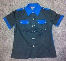 Camicia nera blu rockabilly punk alternative ganci industrial casual Tg M