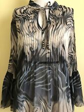 Cache Womens Sheer Blouse Top Size Large Blue Cream Gray 3/4 Bell Sleeves