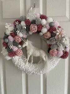 Beautifil Pink White And Grey Christmas Pom Pom Wreath
