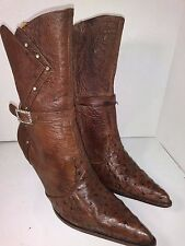 Premier Brown Ostrich Leather Western Heels Ankle Boots Womens Size 7