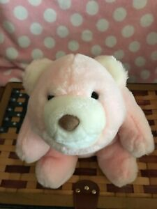 "GUND Snuffles Pink White Plush Stuffed Teddy Bear Vintage 1980 Approx 11"""