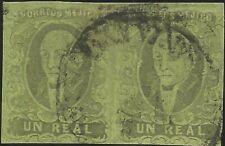 J) 1861 Mexico, Hidalgo, Un Real, Pair, Santa Ana De Tamaulipas, Circular Cancel