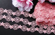 Beautiful Flower embroidered  lace trim / Pink - price for 1 yard