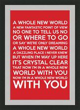 Whole New World Framed Lyrics - Red - A3 Black Frame - Great Valentine's Gift