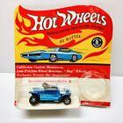 Vintage 1968 HOT WHEELS Hot Heap Blue Redline Hong Kong 1/64 Diecast In Package