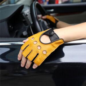 Men Genuine sheep skin Leather Half Finger Gloves High Quality Driving Gloves