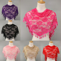 Women Lace Hollow Tassel Scarf Floral Print Triangle Shawl Neck Wrap Access Gift