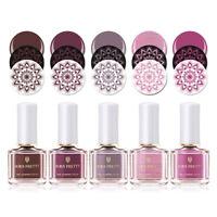 6 colors/set BORN PRETTY Nail Stamping Polish Pink Series Printing Varnish 6ML