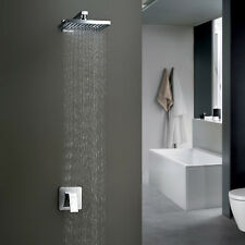 "Modern 18"" Chrome Wall Mount Rain Single Handle Shower Faucet Rainfall Mixer Tap"