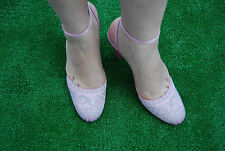 Morgan de Toi pink satin embroidery gyaru lolita chunky heels court shoes 6