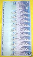 Malaysia $1 Ringgit Banknote Dollar UNC Paper Set (10 Pieces Set)