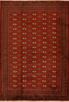 Geometric Bokhara RUST RED Hand-Knotted Area Rug Tribal Wool Oriental Carpet 5x6