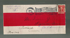 1906 US Post Office Shanghai China Red Band Cover to USA Flag Cancel Forwarded