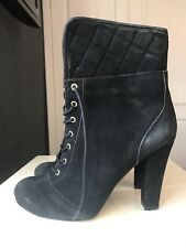 Dune Black Leather Ladies Women Ankle Calf High Heel Shoe Boot Size 7 40