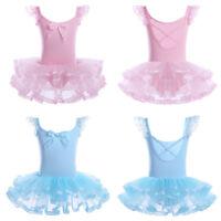 Mädchen Kleid Ballettkleid Kinder Ballett Trikot Ballettanzug mit Tütü Röckchen