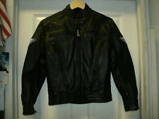 HEIN-GERICKE Black Genuine Leather Motorcycle Jacket Padded Thermoliner Size 6W