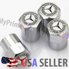 Mercedes Benz MB Valve Stems Caps Covers Silver Chromed Roundel Emblem Logo Tire
