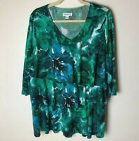 Susan Graver Women's Printed Liquid Knit Tiered Top Size 1X 3/4 Sleeves Floral