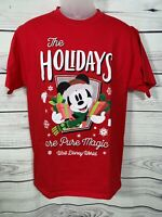 Authentic Disney World Christmas Holiday Mickey Mouse Red T-Shirt Size Medium M