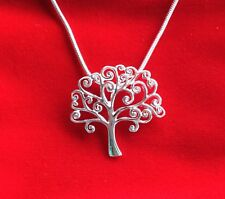 """Tree Of Life Sterling Silver 925 Elegant Pendant With 18"""" Chain Dainty Red Pouch"""
