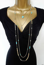 "Beautiful 42"" Long 4 PIECE Chain Layered Necklace SET Turquoise Beads Gold Tone"