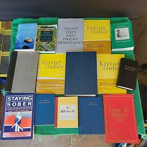Lot of 15 Alcoholics Anonymous Books 12 Steps Living Sober As Bill Sees It AA