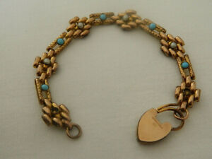 VINTAGE 18ct ROLLED GOLD TURQUOISE & SEED PEARL FANCY LINK BRACELET 20 grams
