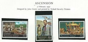 ASCENSION ISLAND 1977 - QEII SILVER JUBILEE  Set of 3 - SG 222 to 224 Mint MNH