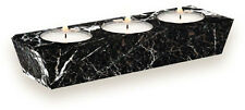 3 TEALIGHT HOLDER BLACK MARBLE Home Decor FREE Candles Gift Box Bargain 40% OFF