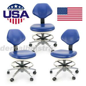 3*Dental Chair PU Leather Adjustable Stool Hydraulic Rolling Stool Blue
