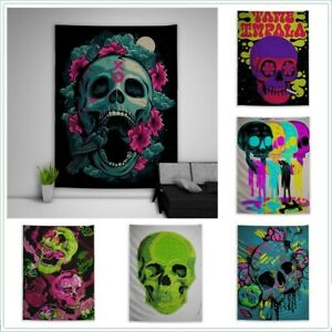 Skull Trippy Hippie Tapestry Wall Art Poster Hanging Sofa Table Cover