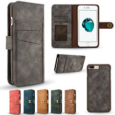 Detachable 2in1 Leather Magnetic Card Wallet Case For iPhone Samsung Sony Huawei