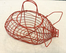 Red Metal Wire Pig Basket Home Decor Farmhouse Egg Basket