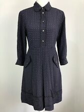 ANNA THOMAS 100% Silk Long Sleeved Button Up Collared Dress.Navy with Spots. Siz