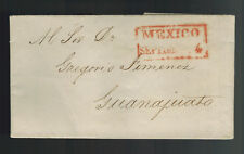 1844 Mexico Stampless Letter sheet Cover to Guanajuato
