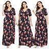 Women Boho Floral Long Maxi Dress Holiday Beach Sundress Kaftan Plus Size Casual