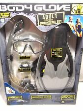 Body Glove Adult Silicone Dry Snorkeling Set Black Gray ML-XL (9-13) Fins Mask