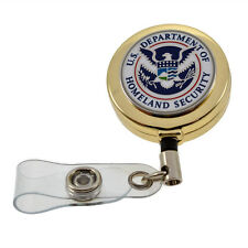 Homeland Security DHS Gold Retractable Badge Reel ID Card Holder Lanyard
