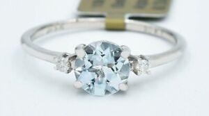 GENUINE 0.94 Cts AQUAMARINE & DIAMOND RING 10K WHITE GOLD* Free Appraisal