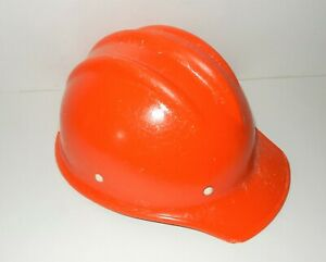 Nice VINTAGE ORANGE FIBERGLASS HARD BOILED BULLARD 502 Hard Hat IRONWORKER